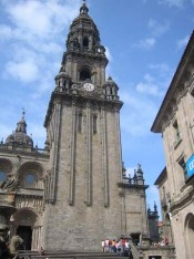 021 Southern doorway and old clock tower of the Cathedral at Santiago de Compostela