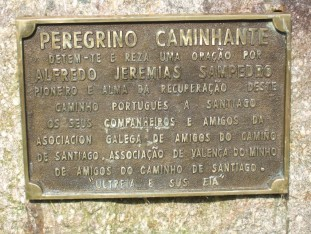 20 Memorial to the priest who worked for the renaissance of the Camino and originated the yellow arrows to mark the Way